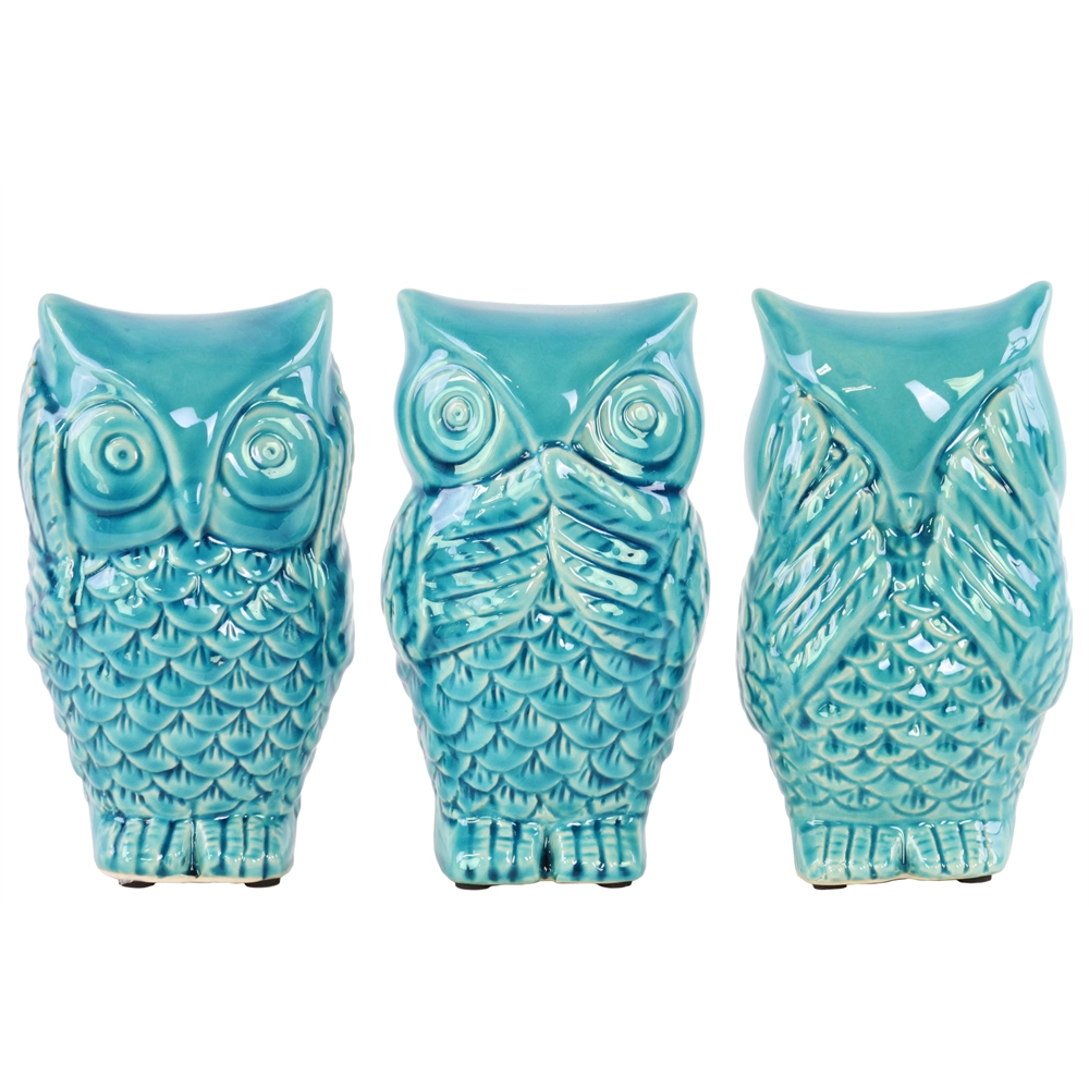 Ceramic owl no evil hear speak see figurine assortment of three gloss finish turquoise - Hear no evil owls ceramic ...