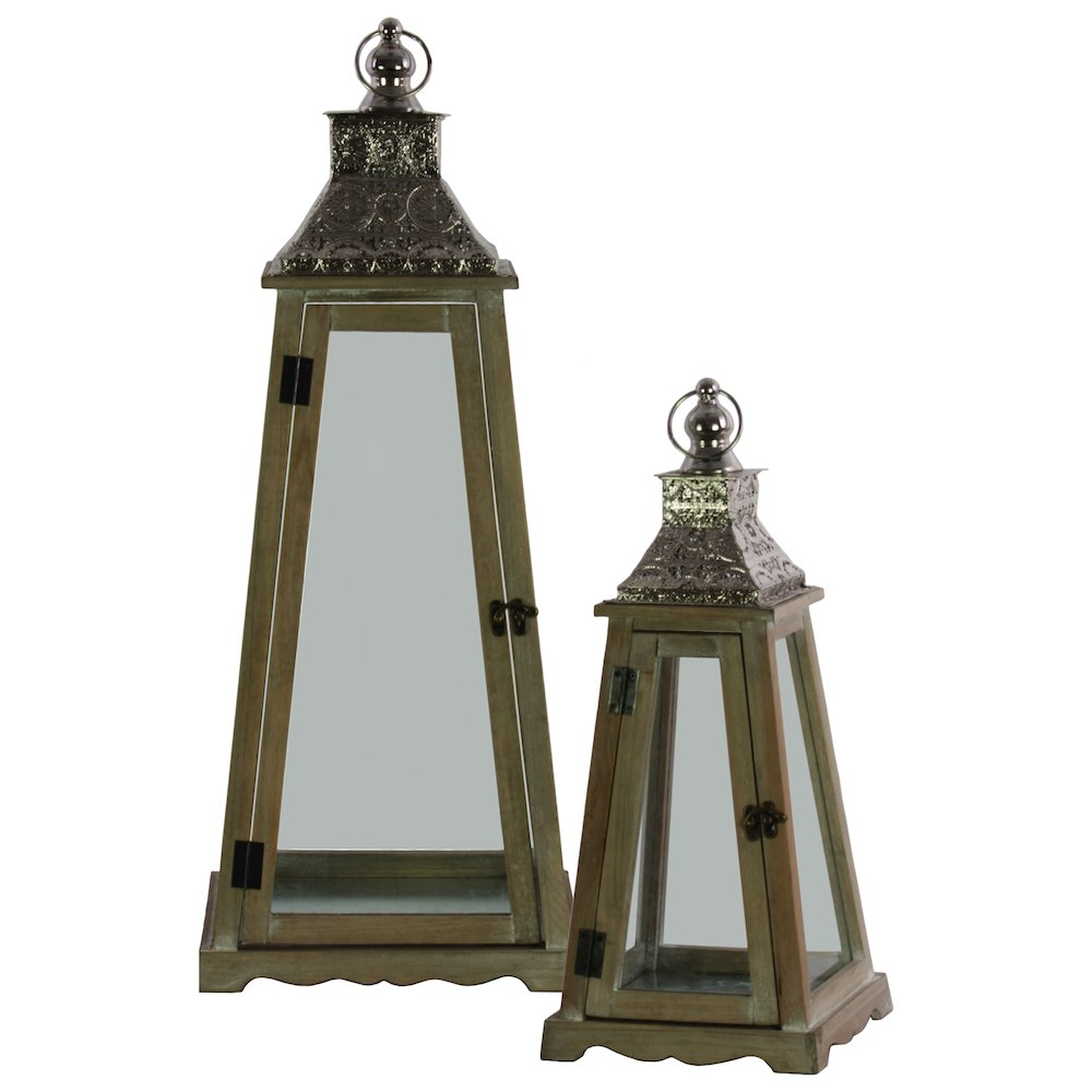 Wood Pyramidal Lantern With Silver Floral Design Pierced