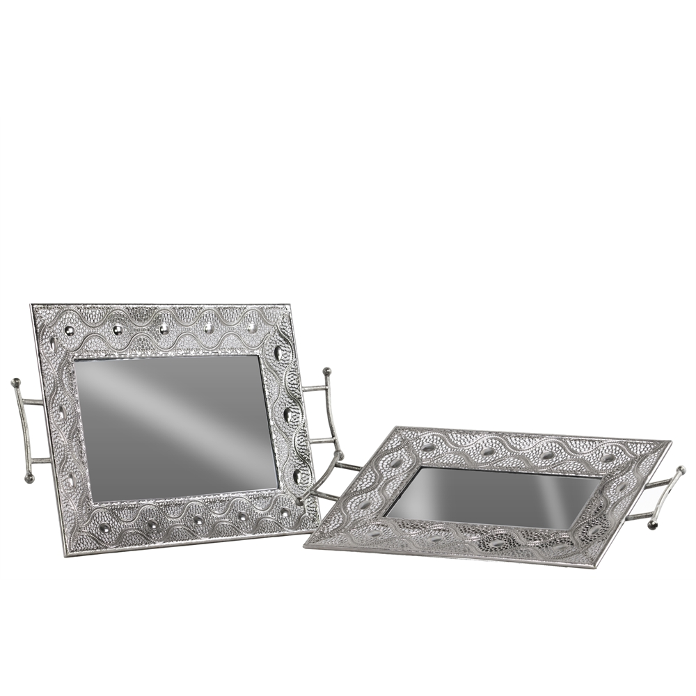 Metal Rectangular Tray With Mirror Surface Pierced Metal