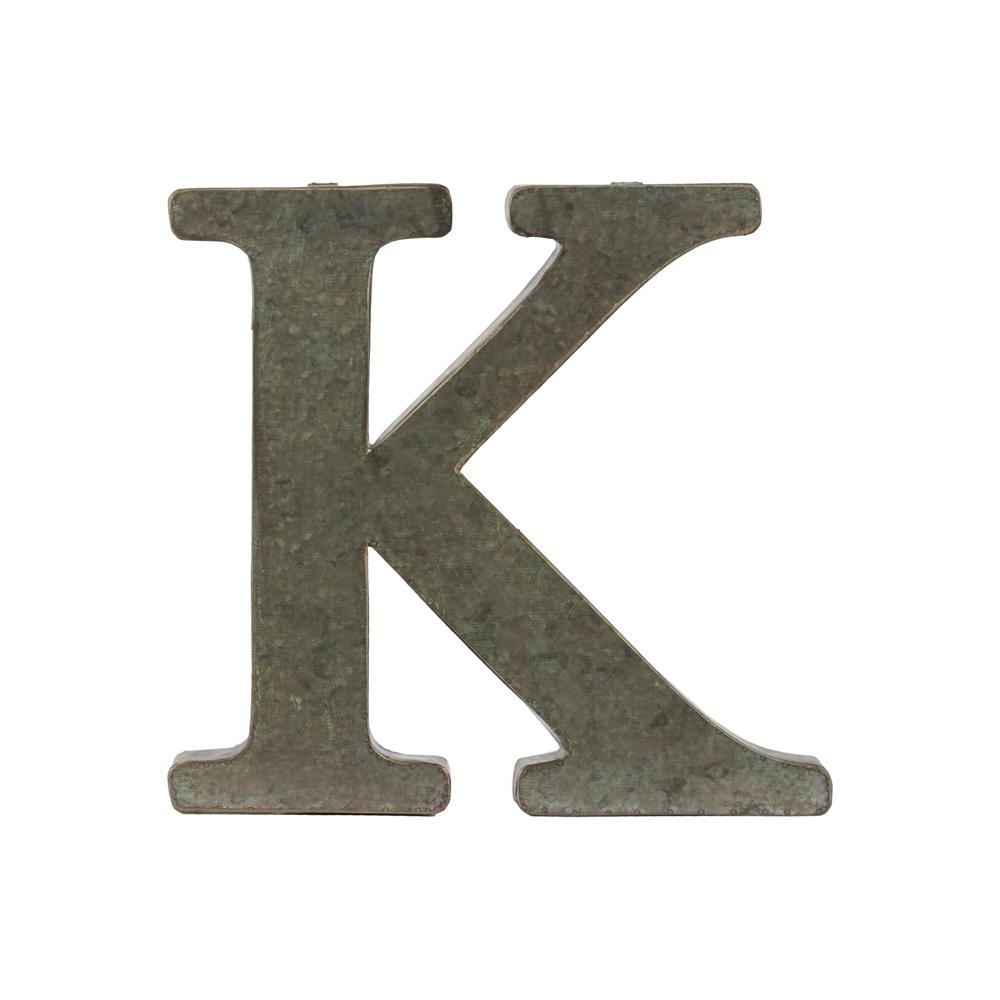 """Large Metal Letter K Alphabet Wall Decor Letter """"k"""" Tarnished Finish Bronze"""