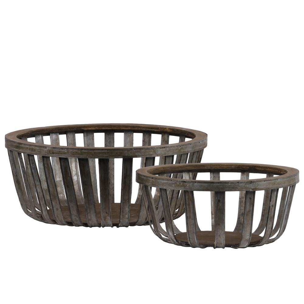 Metal Round Basket With Wood Lip And Surface Set Of Two Galv