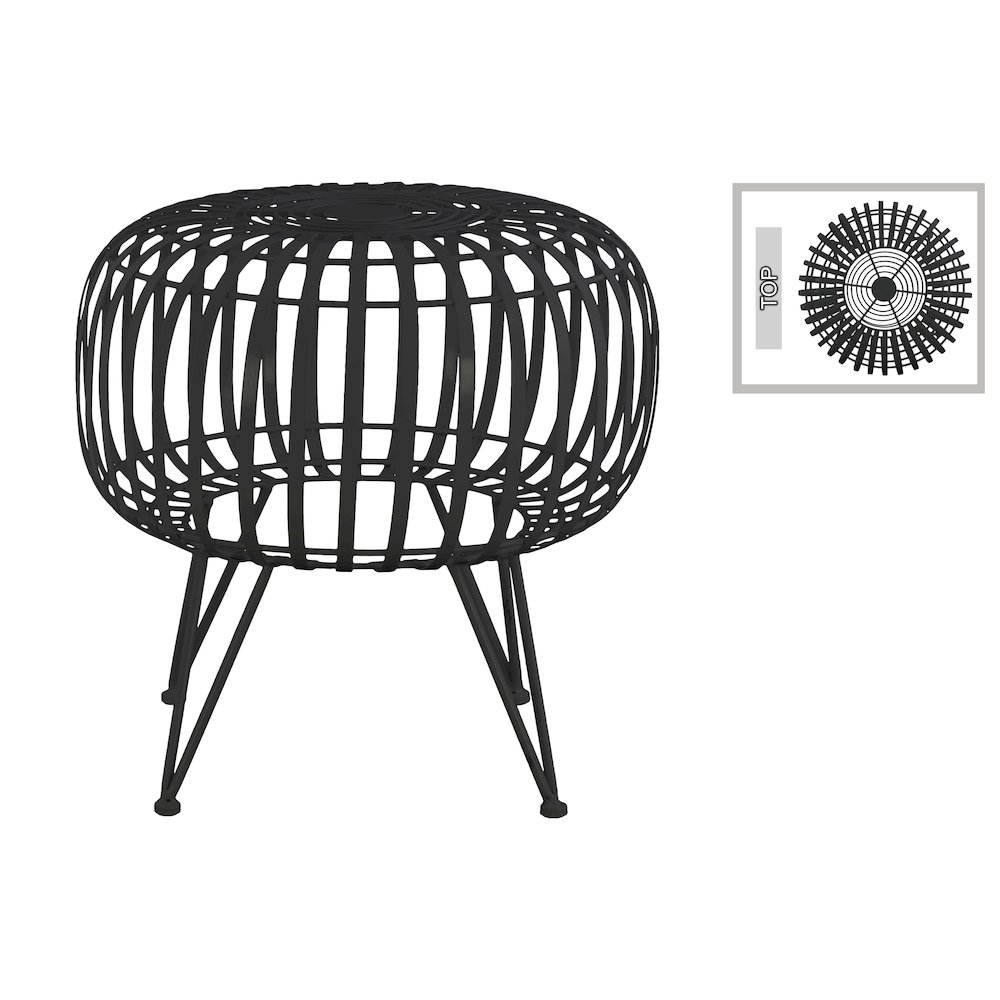 metal round drum end table with industrial skeleton design and 4 hairpin legs gloss finish black