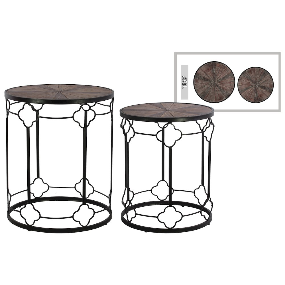 Metal round nesting end table with wood top and