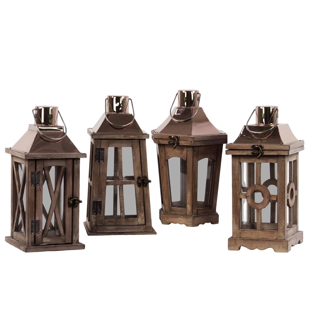 Wood Square Lantern With Rose Gold Metal Top Ring Hanger