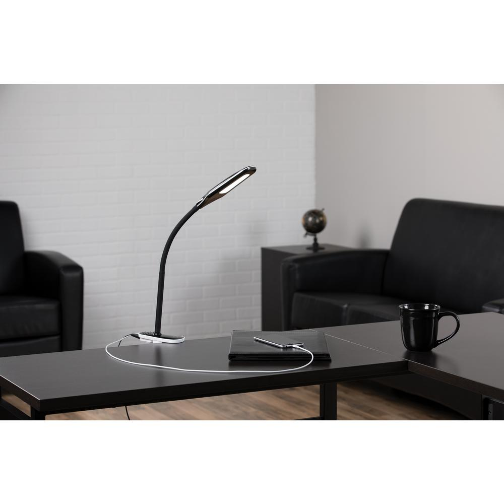 OFM ESS-9001-BLK Essentials LED Desk Lamp with Removable Base and Integrated Desk Clamp, Black. Picture 7