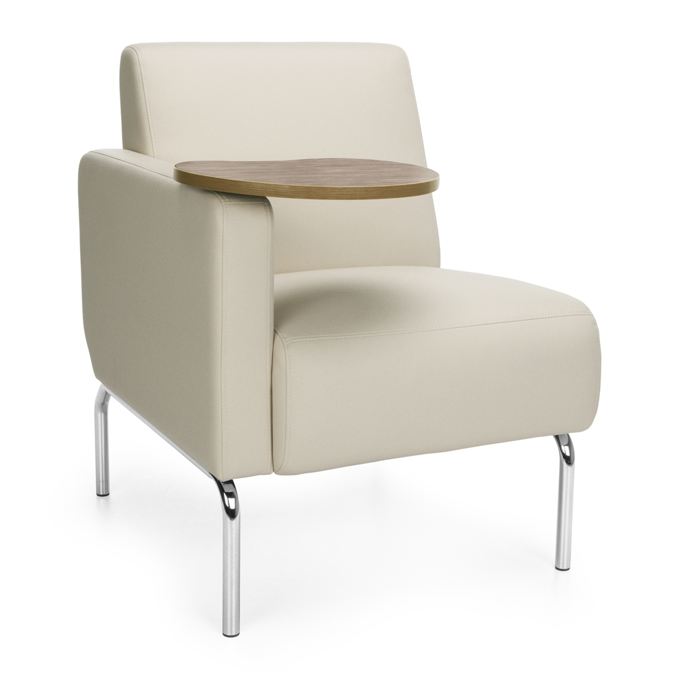 Triumph Series Right Arm Modular Lounge Chair with Tablet Vinyl Seat and Chro