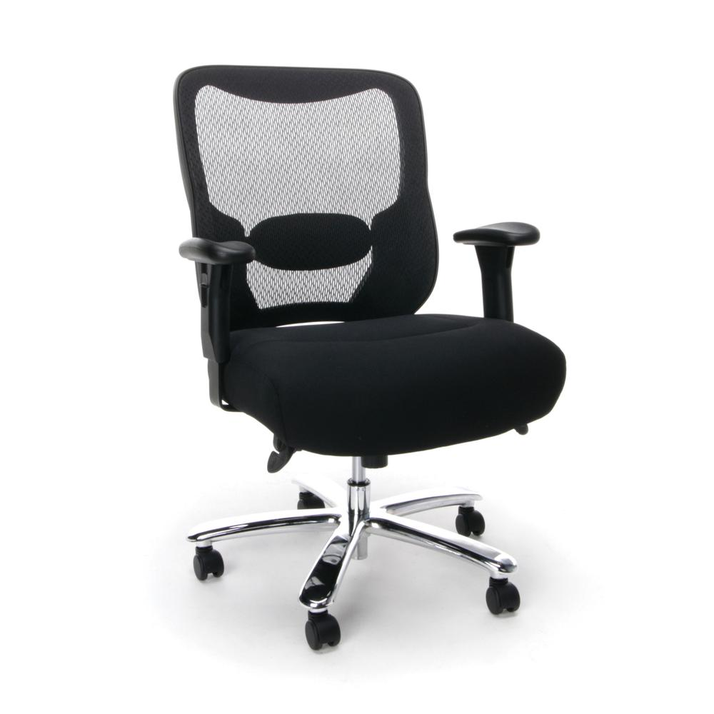 OFM ESS-200 Big and Tall Swivel Mesh Office Chair with Arms/Chrome. Picture 1