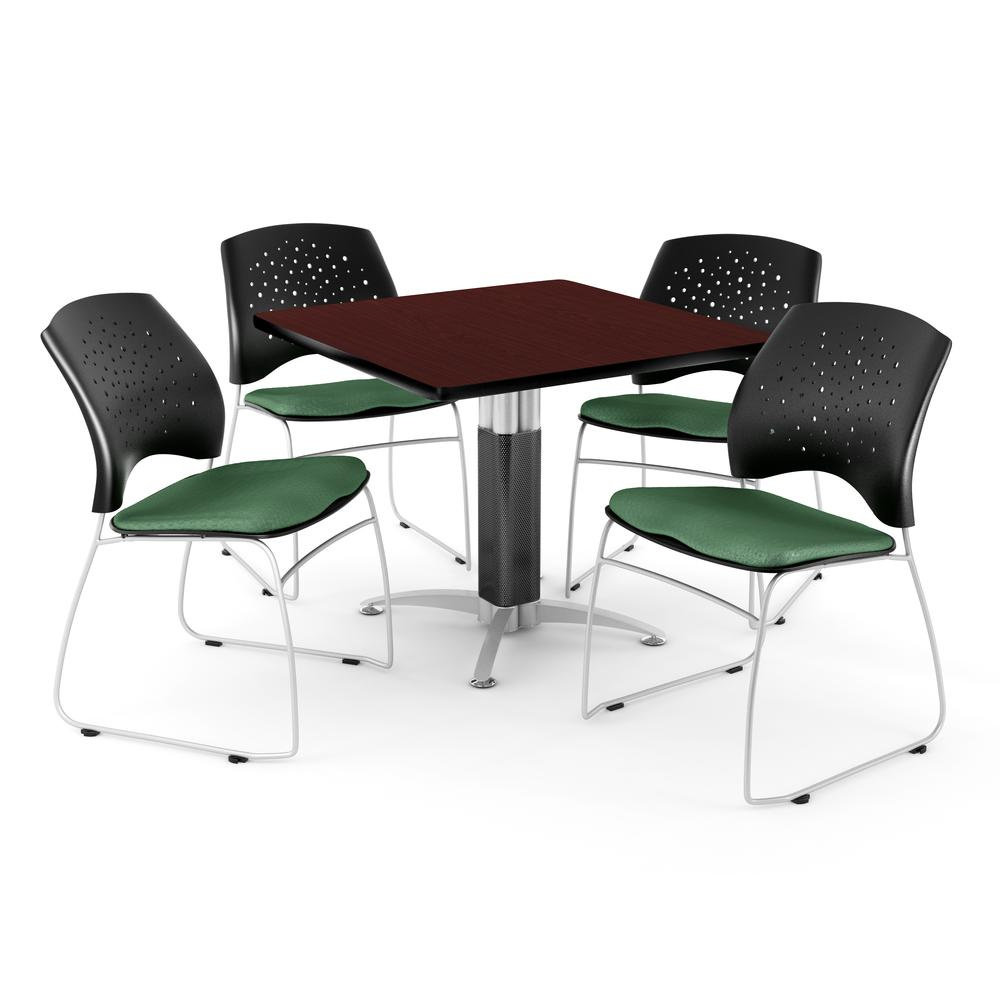 Square Table in Mahogany, 4 Stars Stacking Chairs in Shamrock Green. Picture 1