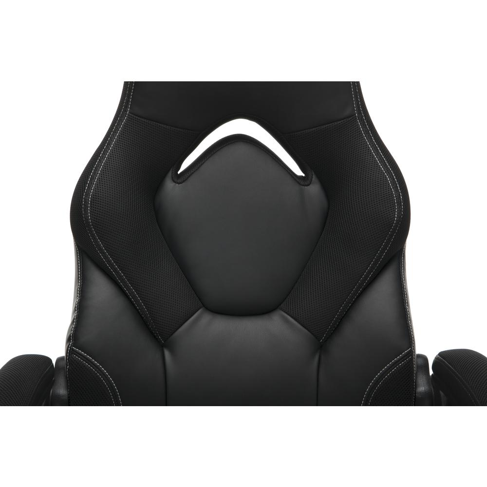 Racing Style Bonded Leather Gaming Chair, in Black. Picture 7