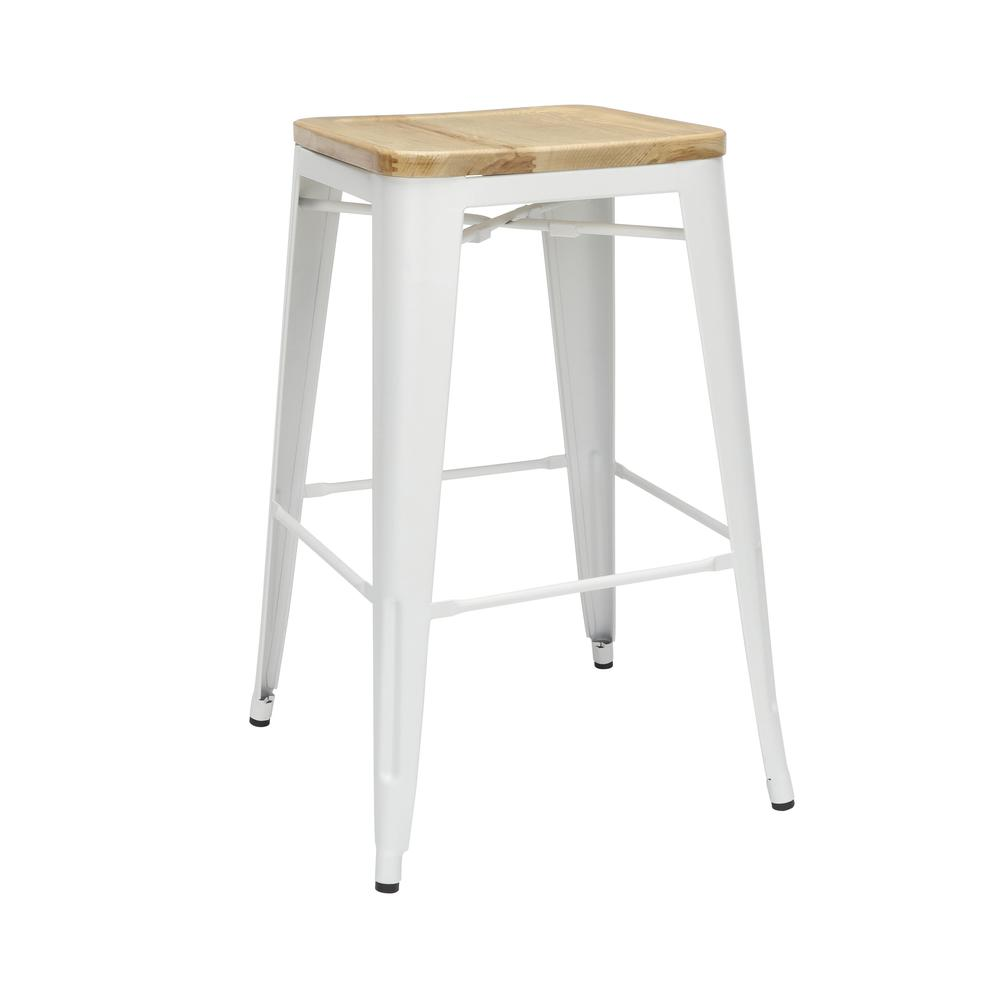 """The OFM 161 Collection Industrial Modern 30"""" Backless Metal Bar Stools with Solid Ash Wood Seats, 4 Pack, require no assembly, are stackable, and provide a roomy 15 square inches of seating surface. P. Picture 1"""