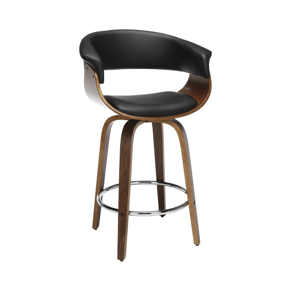"The OFM 161 Collection Mid Century Modern 26"" Low Back Bentwood Frame Swivel Seat Stool, Vinyl Upholstery, in Black, is a statement piece that solves your elevated seating needs with the added functio. Picture 1"