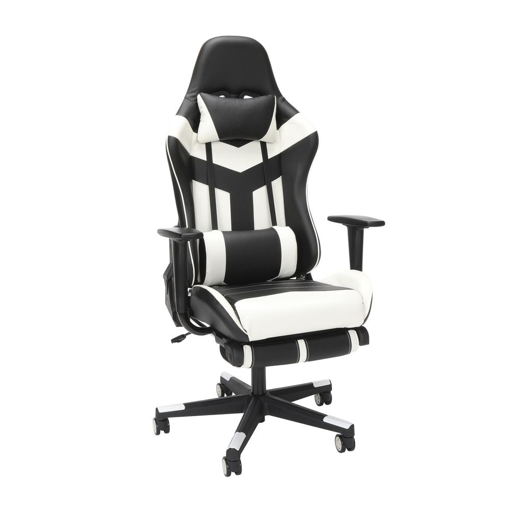 Essentials Collection High Back PU Leather Gaming Chair, with Extendable Footrest, in White (ESS-6075FR-WHT). The main picture.