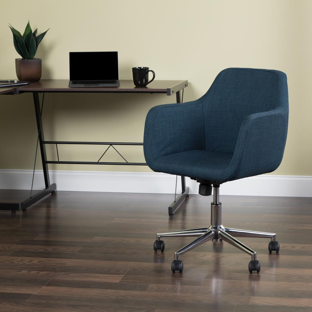 Essentials by OFM ESS-2085 Upholstered Home Office Desk Chair, Blue. Picture 6