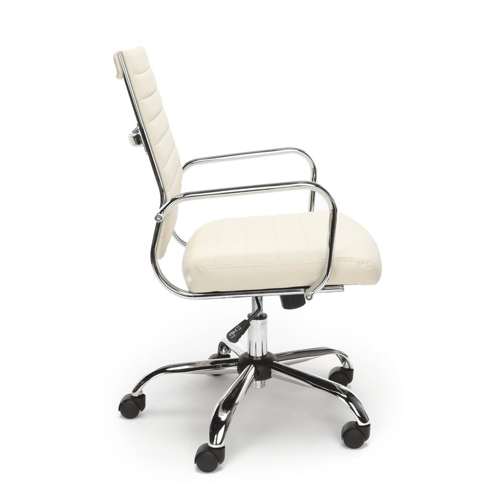 OFM ESS-6095 Soft Ribbed Bonded Leather Conference Chair, Ivory. Picture 4