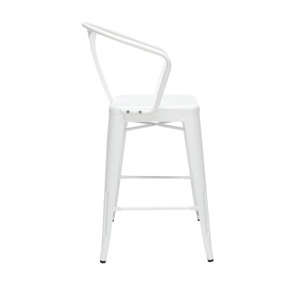 """The OFM 161 Collection Industrial Modern 26"""" Mid Back Metal Arm Chair Stools, 4 Pack, provide a comfortable, yet sophisticated, counter height seating solution for cafe tables and bars, suitable for i. Picture 4"""