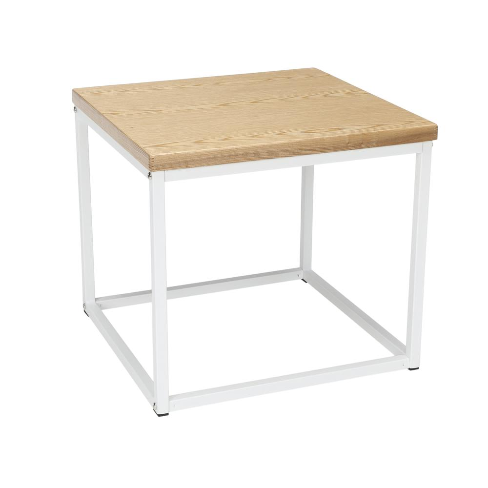 The OFM 161 Collection Industrial Modern Wood Top/Metal Frame Side Table is classically industrial but can tie together pieces from any decor style because of its understated simplicity.. Picture 1