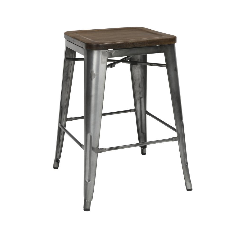 """The OFM 161 Collection Industrial Modern 26"""" Backless Metal Bar Stools with Solid Ash Wood Seats, 4 Pack, require no assembly, are stackable, and provide a roomy 15 square inches of seating surface. P. Picture 1"""