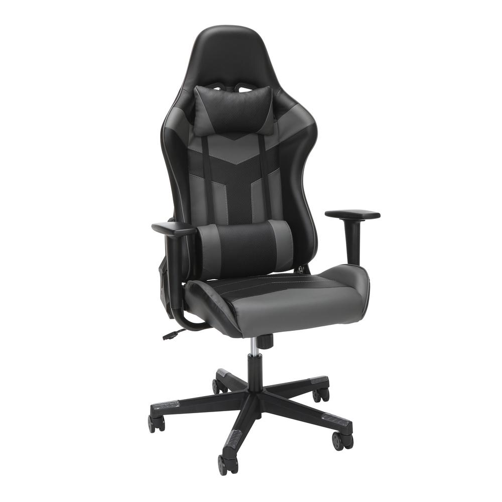 Essentials Collection High Back PU Leather Gaming Chair, in Grey (ESS-6075-GRY). Picture 1
