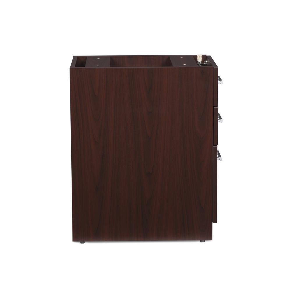 OFM Fulcrum Series Locking Pedestal, 3-Drawer Filing Cabinet, Mahogany (CL-BBF-MHG). Picture 4