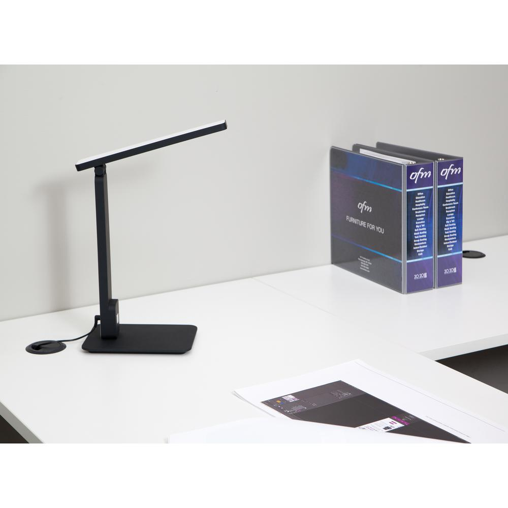 OFM 4025-BLK Industrial LED Desk Lamp with Touch Activated Switch and USB Charging Port, Black. Picture 7