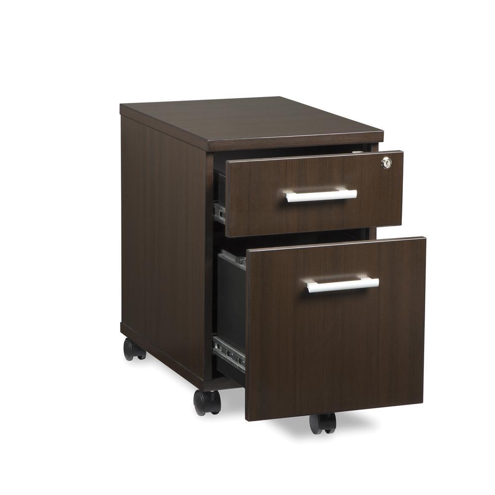 OFM Fulcrum Series Locking Pedestal, Mobile 2-Drawer Filing Cabinet, Espresso (CL-MBF-ESP). Picture 6