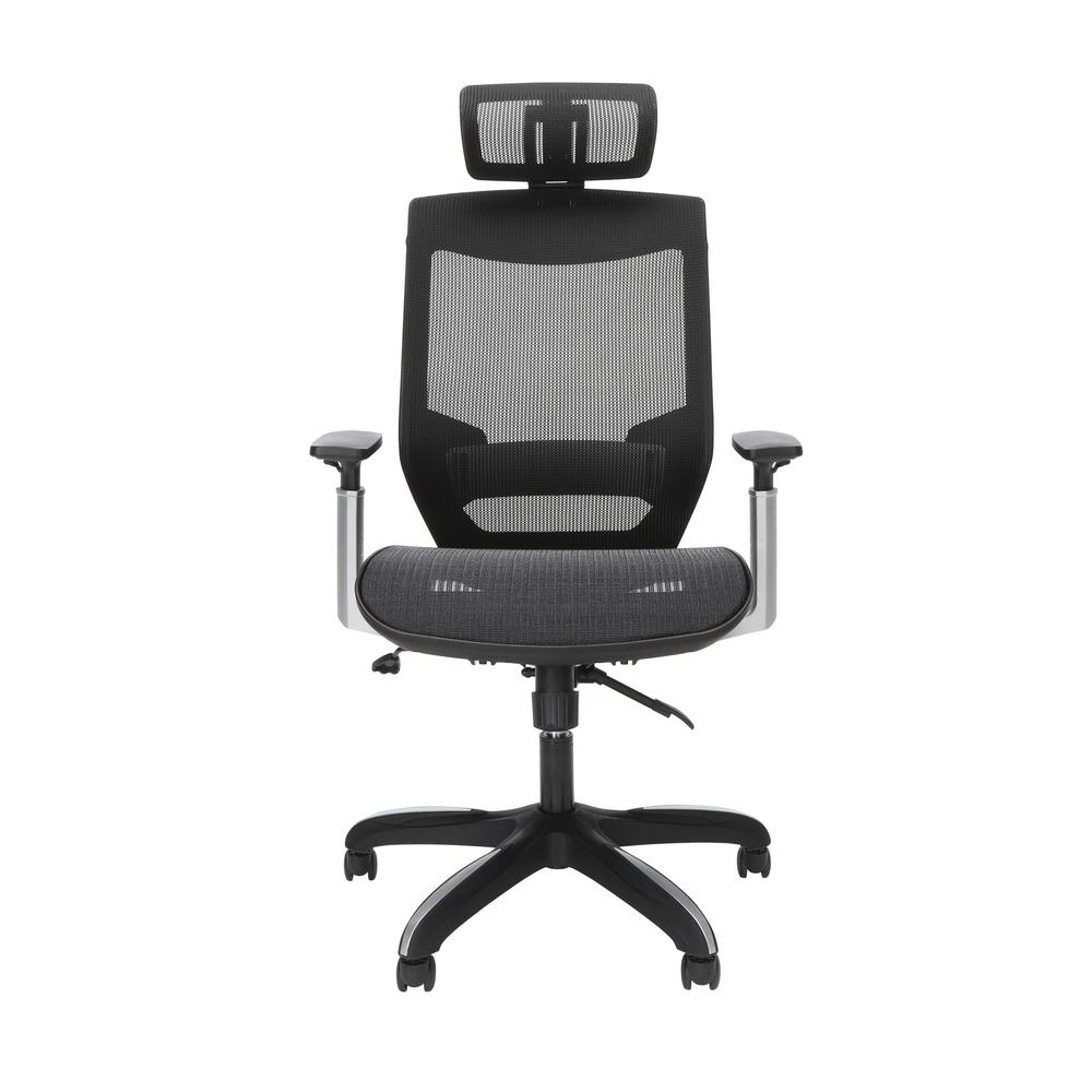 OFM Core Collection Full Mesh Office Chair with Headrest, Lumbar Support, in Black. Picture 2