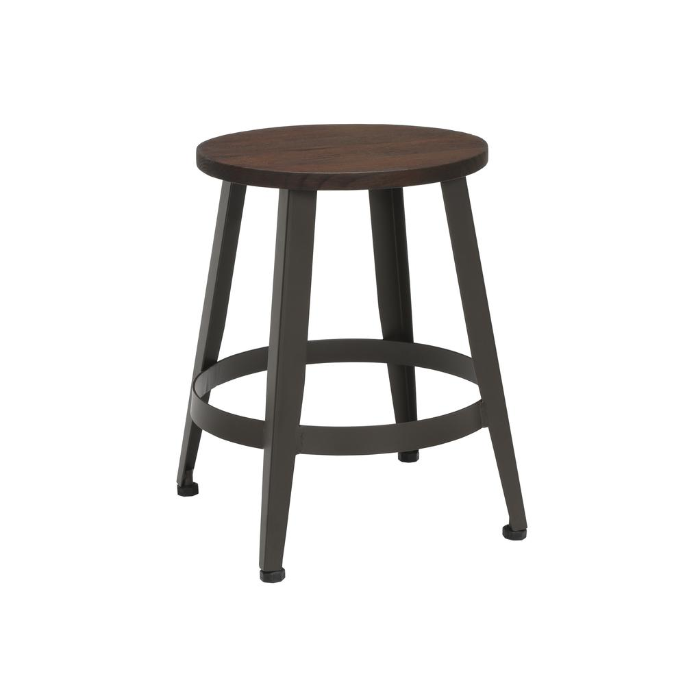 "18"" Table Height Metal Stool, in Walnut. Picture 1"