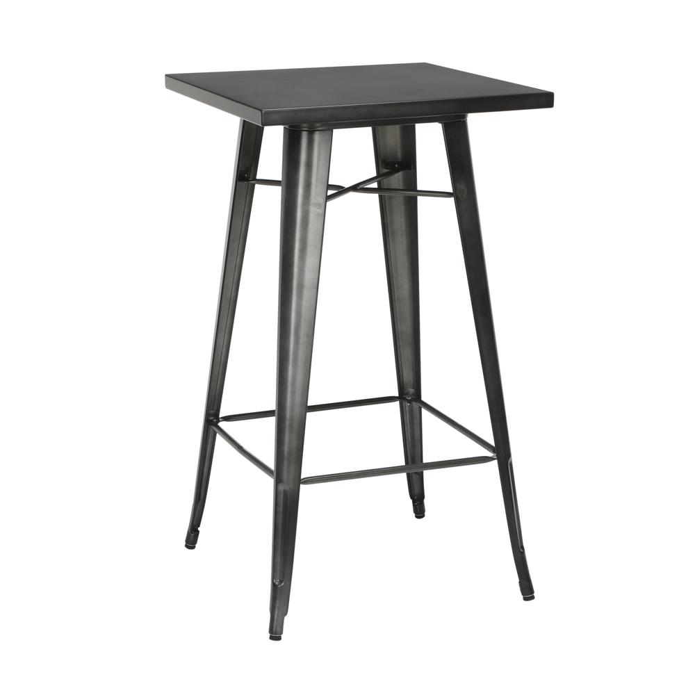 "The OFM 161 Collection Industrial Modern 24"" Square Bar Table with Footring is perfect for indoor or outdoor applications because its galvanized steel is coated in an anti-UV powder that helps prevent. Picture 1"