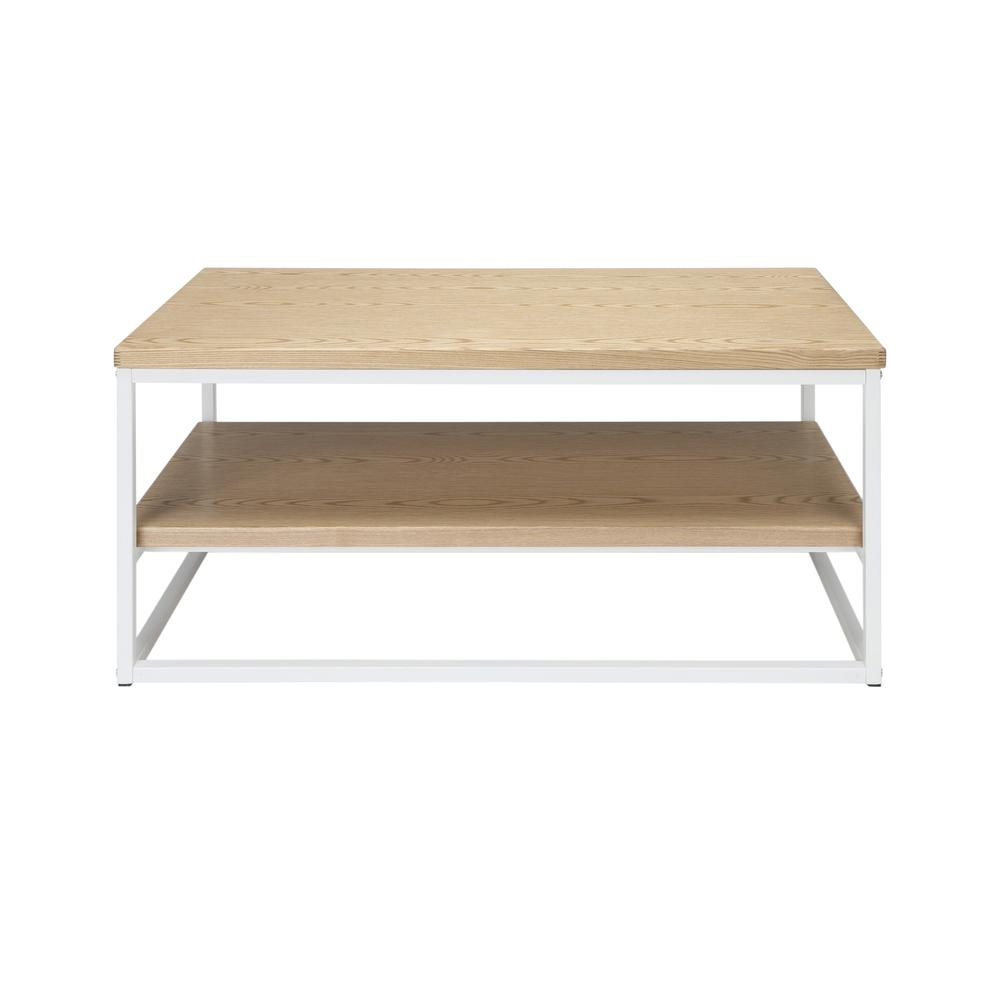 The OFM 161 Collection Industrial Modern Wood Top/Metal Frame Coffee Table with Wood Shelf is the perfect accent piece for any space as it blends easily in living rooms, recreational spaces, lobbies,. Picture 2