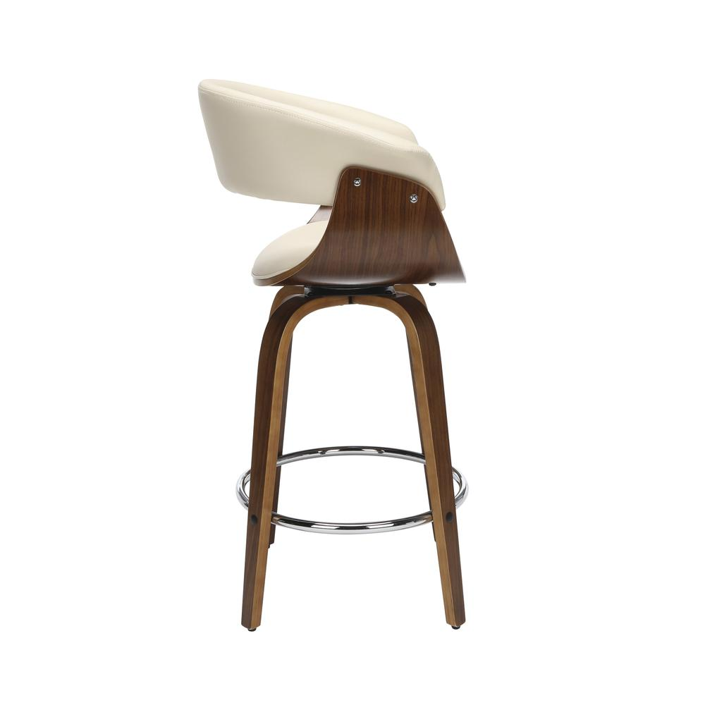 "The OFM 161 Collection Mid Century Modern 26"" Low Back Bentwood Frame Swivel Seat Stool, Vinyl Upholstery, in Ivory, is a statement piece that solves your elevated seating needs with the added functio. Picture 4"
