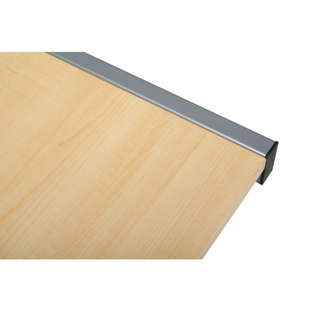 """60"""" Metal Frame L-Shaped Desk, Corner Computer Desk, in Maple. Picture 10"""