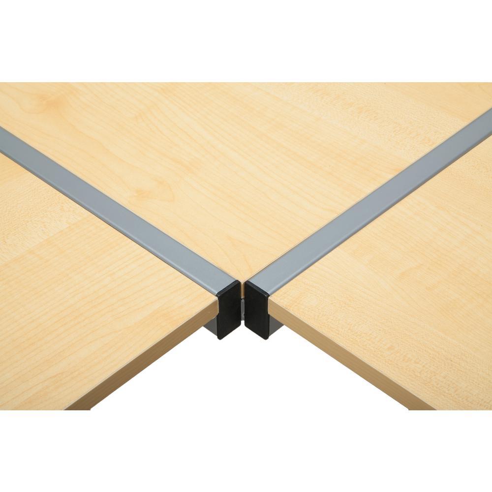 """60"""" Metal Frame L-Shaped Desk, Corner Computer Desk, in Maple. Picture 9"""