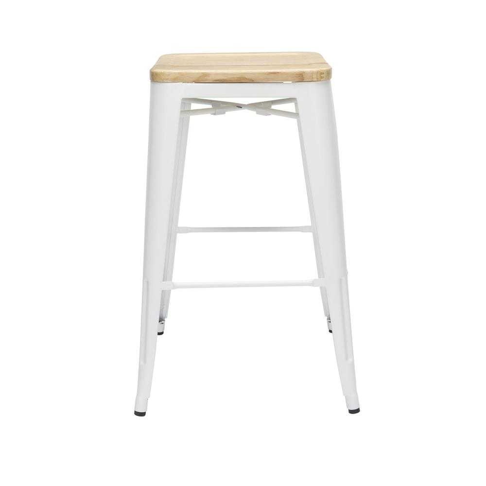 """The OFM 161 Collection Industrial Modern 30"""" Backless Metal Bar Stools with Solid Ash Wood Seats, 4 Pack, require no assembly, are stackable, and provide a roomy 15 square inches of seating surface. P. Picture 4"""