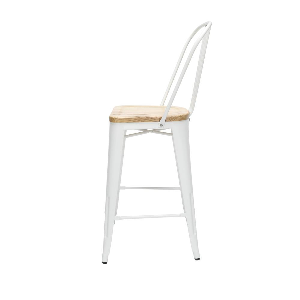 "The OFM 161 Collection Industrial Modern 26"" High Back Metal Stools with Solid Ash Wood Seats, 4 Pack, bring the industrial vibe of a galvanized steel frame and couple it with the inviting warmth of s. Picture 5"