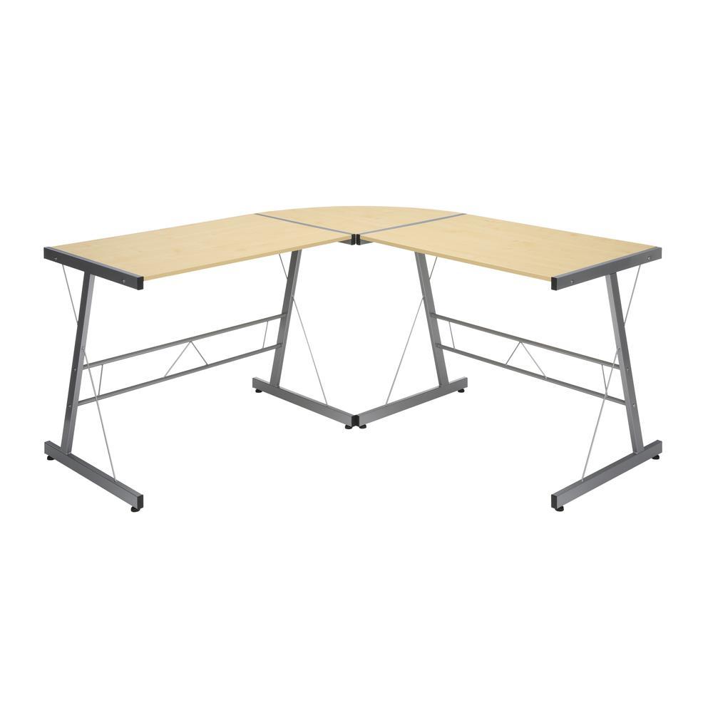 """60"""" Metal Frame L-Shaped Desk, Corner Computer Desk, in Maple. Picture 2"""