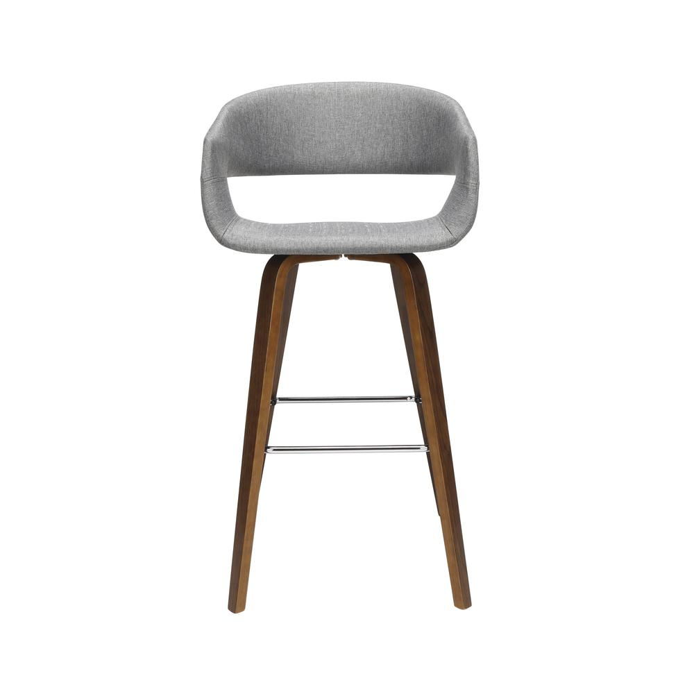 "The OFM 161 Collection Mid Century Modern 26"" Low Back Bentwood Frame Stool, Fabric Upholstery, 2 Pack, in Light Gray, is a graceful stool that provides a retro look for your elevated seating needs.. Picture 2"