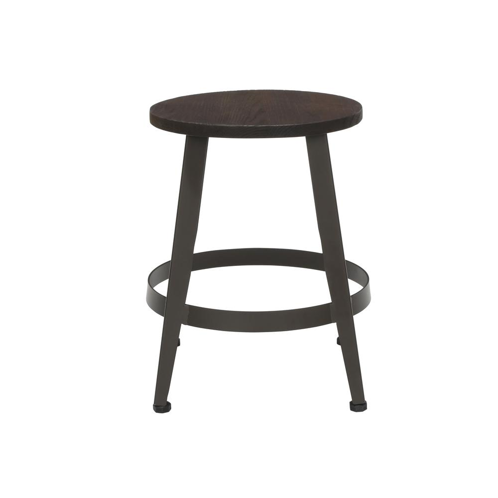 "18"" Table Height Metal Stool, in Walnut. Picture 5"