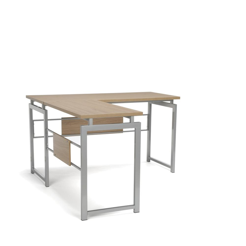 Essentials by OFM ESS-1020 L Desk with Metal Legs, Harvest with Silver Frame. Picture 1