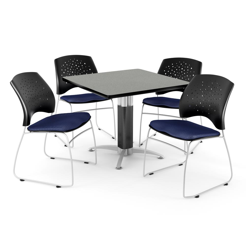 Square Table in Gray Nebula, 4 Stars Stacking Chairs in Gray Nebula. Picture 1