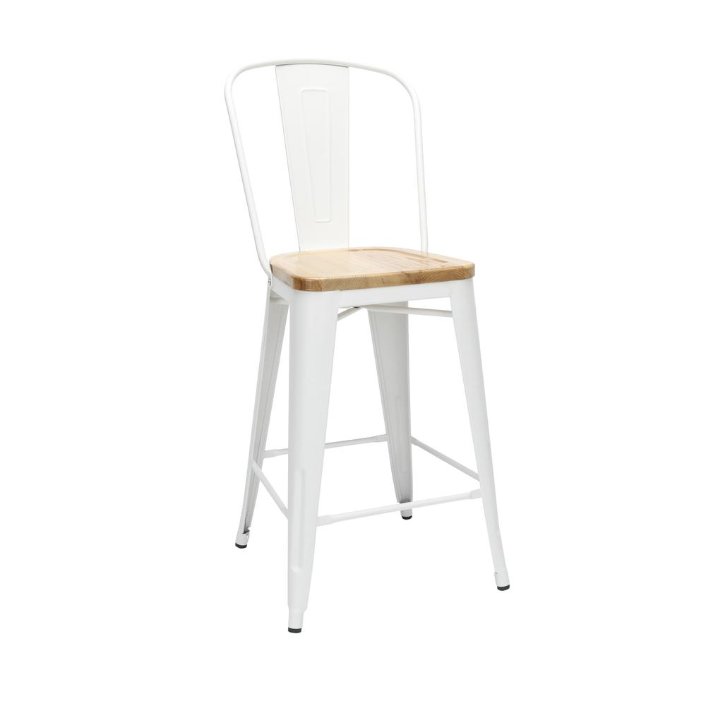 "The OFM 161 Collection Industrial Modern 26"" High Back Metal Stools with Solid Ash Wood Seats, 4 Pack, bring the industrial vibe of a galvanized steel frame and couple it with the inviting warmth of s. Picture 1"
