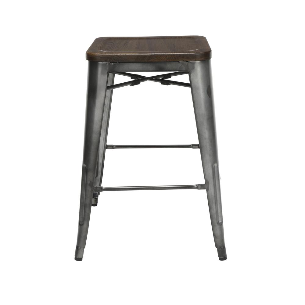 """The OFM 161 Collection Industrial Modern 26"""" Backless Metal Bar Stools with Solid Ash Wood Seats, 4 Pack, require no assembly, are stackable, and provide a roomy 15 square inches of seating surface. P. Picture 4"""