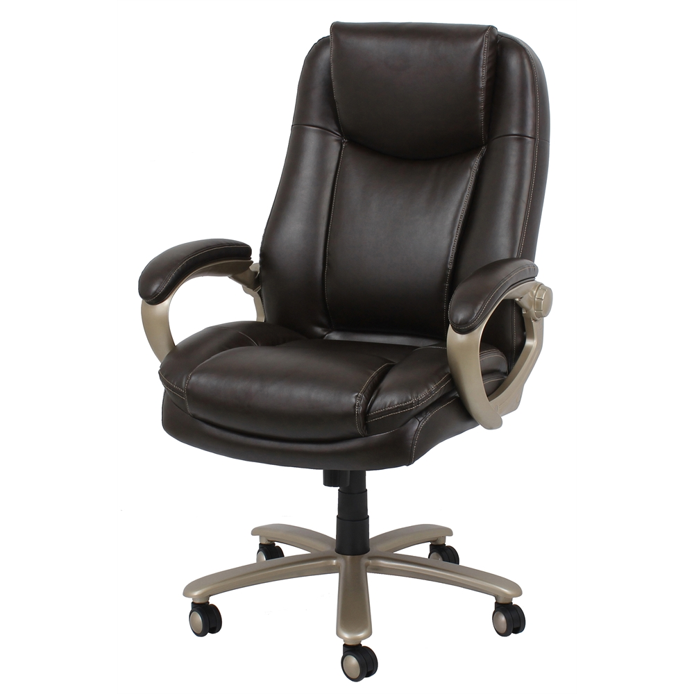 Big And Tall Leather Executive Office Chair With Arms Brown Bronze
