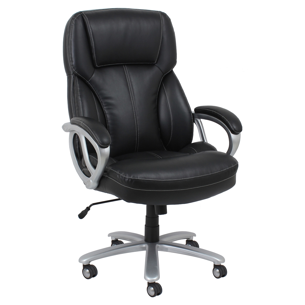 big and tall leather executive office chair with arms black silver