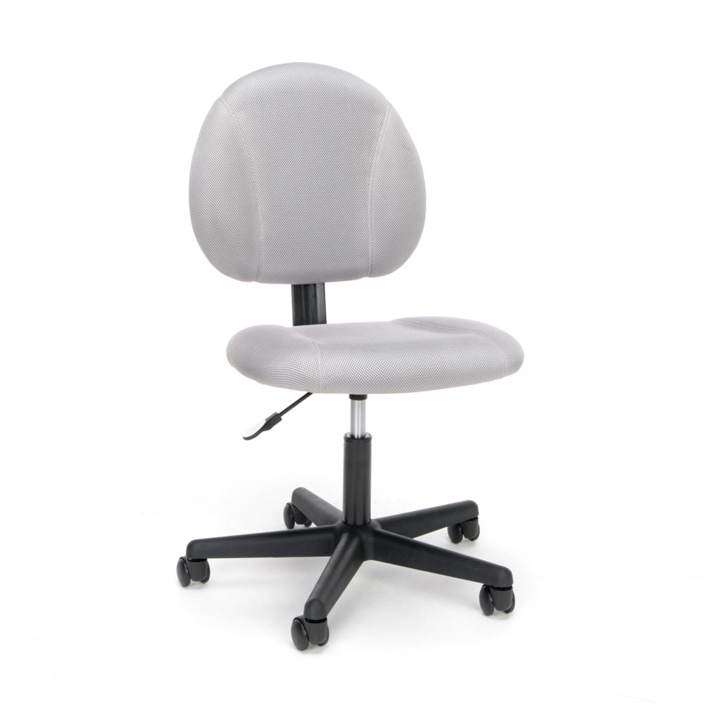 Swivel Upholstered Armless Task Chair Black Or Gray