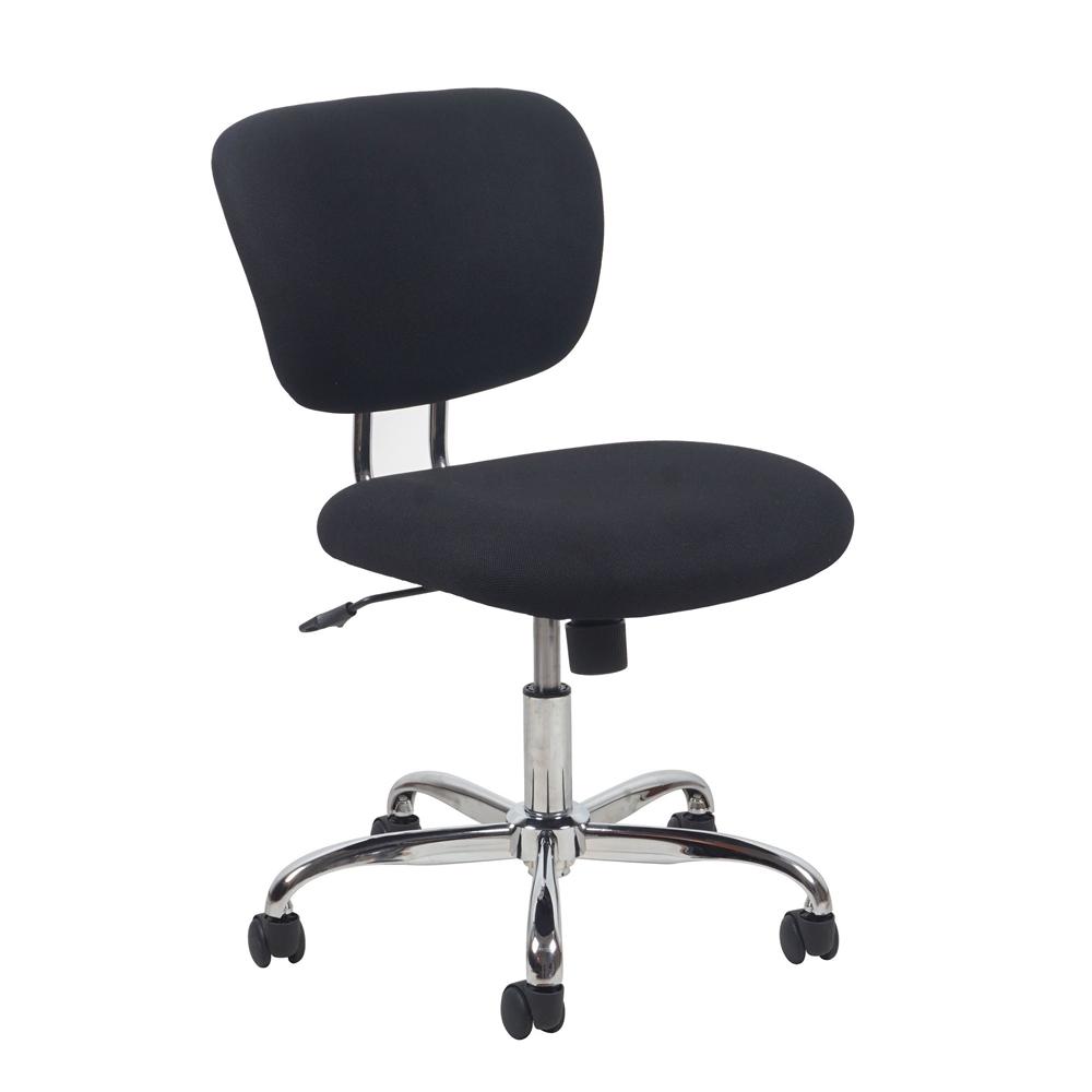 swivel upholstered armless task chair black chrome. Black Bedroom Furniture Sets. Home Design Ideas