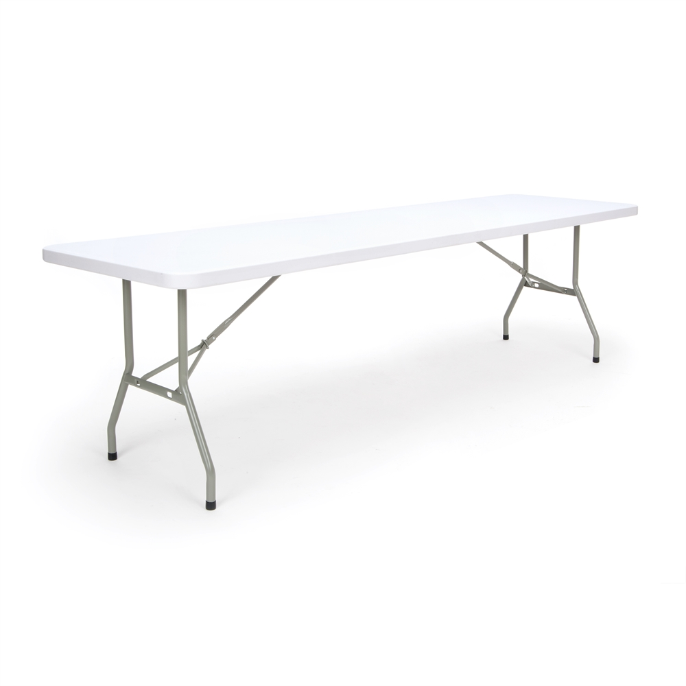 8 ft Folding Table, White Blow Molded Plastic Top. Picture 1