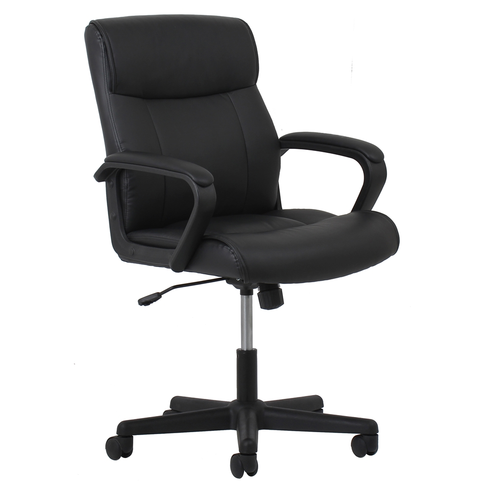 Leather Executive Office Chair With Arms Black