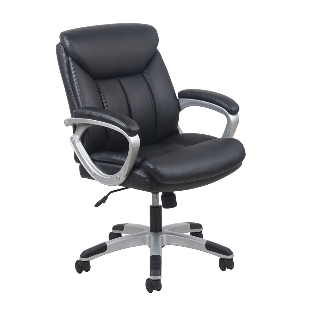 Leather executive office chair with arms black silver