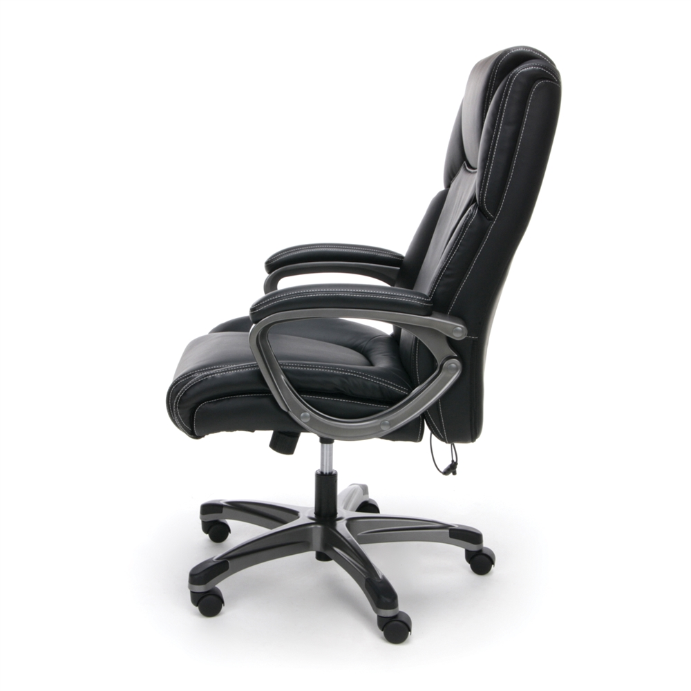 Heated Shiatsu Massage Leather Executive Office Chair Black