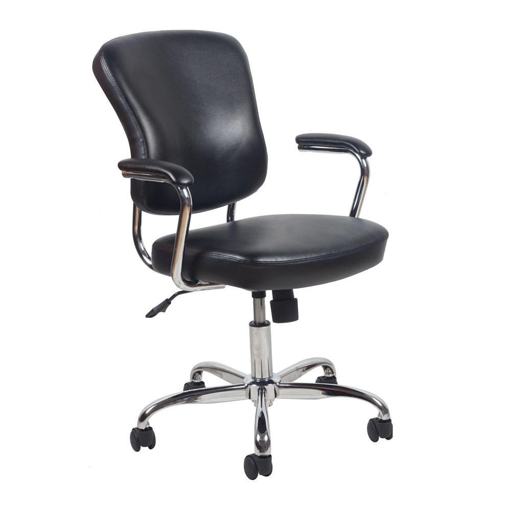 Swivel leather office chair with padded arms black chrome for Swivel chairs for office